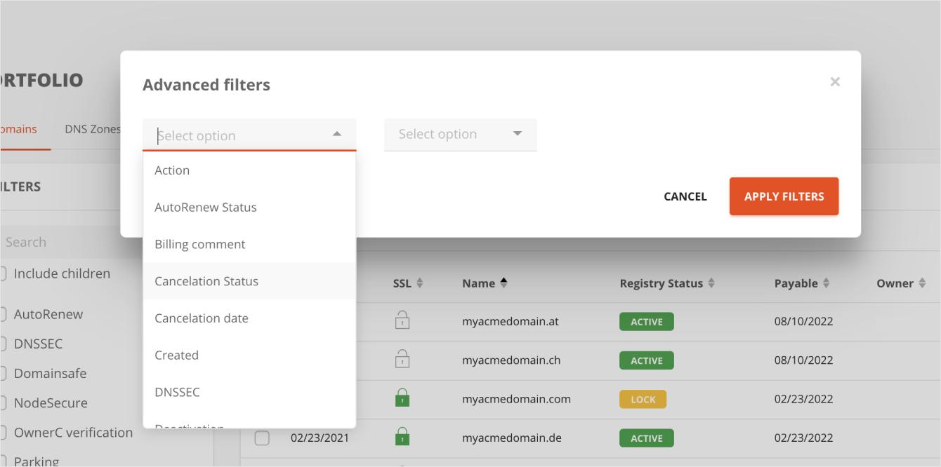 Portfolio TTL filter in AutoDNS